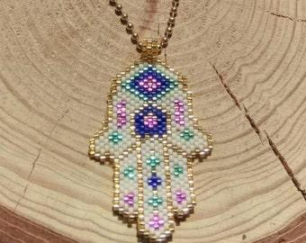 Miyuki pendant- Miyuki beaded- Peyote necklace- ethnic boho necklace-Hamsa Hand-Fatma Mother
