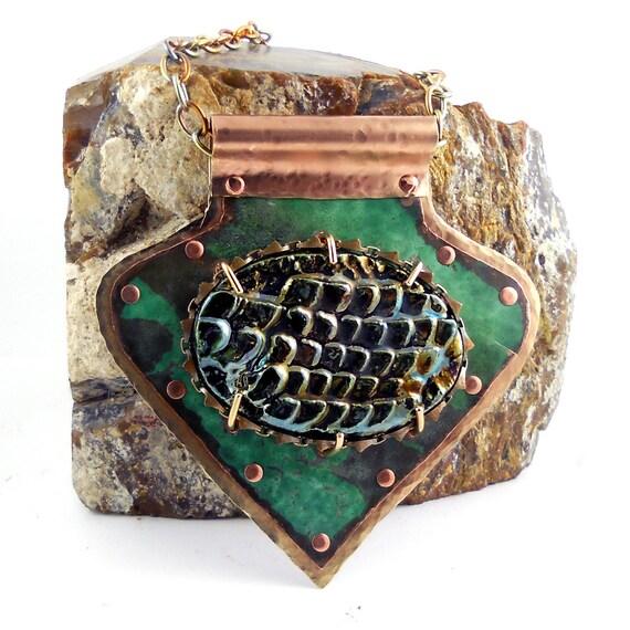 Fantasy DRAGON SKIN Statement Pendant Necklace, Verdigris Green Copper & Brass, Riveted Metalwork w/ Handmade Raku Pottery Cabochon, #P0051