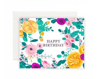 Happy Birthday Floral Garden Greeting Card