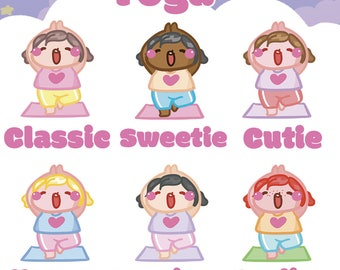Yoga Sammie    Planner Stickers, Cute Stickers for Erin Condren (ECLP), Filofax, Kikki K, Etc.    AS06