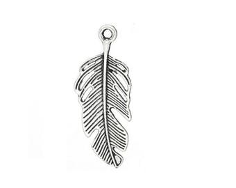 large silver feather (C30) charm