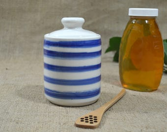 Blue Striped Honey Pot - MADE TO ORDER- Jam Jar - Sugar Jar with Wood Honey Dipper