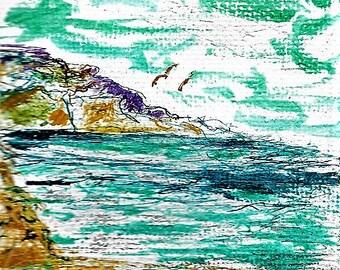 mini canvas painting, mini painting, mini acrylic paintings-bitty beaches, little landscapes, mini mountains, tiny trees