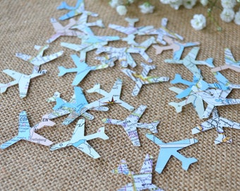 atlas airplane confetti, map confetti, wedding confetti, going away confetti- 100 pieces