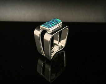 Blue Green Opal Silver Ring // 925 Sterling Silver // Fire Opal // Rectangle Shape with Squared Silver Band // Size 8 Opal Ring