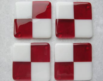 Red and White Fused Glass Coasters Set of Four Fused Glass Art Handmade Housewares Housewarming Gift Glass Tile Coasters