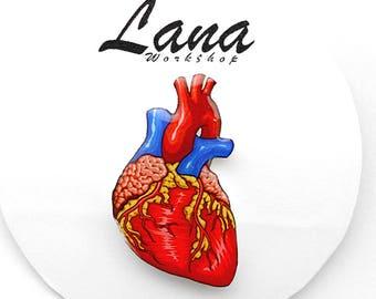 Anatomical Heart Jewelry Human Heart brooch Red Heart  Anatomy Organ brooch  Anatomy Jewelry Natural heart