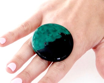 Unique Jewelry, Fused Glass Jewelry Cocktail Ring - big ring, handmade ring, unique ring, statement ring, cocktail ring, Studioleanne