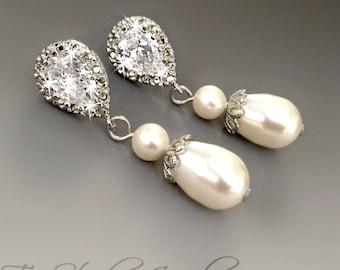 Silver Classic Style Teardrop Pearl Drop CZ Crystal Bridal Earrings - CHARLOTTE