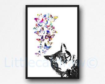 Tabby Cat With Butterflies Print Watercolor Painting Art Print Cat Lover Gift Wall Art Living Room Decor Cat Wall Decor Unframed