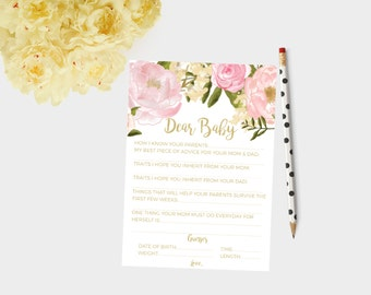 Dear baby cards, baby shower cards, baby shower games, baby shower games, advice for mom, advice for mum, dear baby game, letters to baby