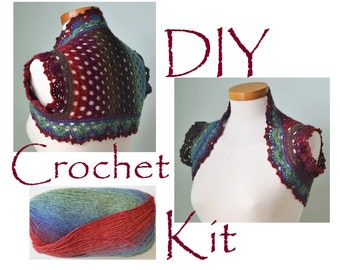 DIY, Crochet Kit, Crochet shrug / bolero, RAINBOW, pattern and yarn