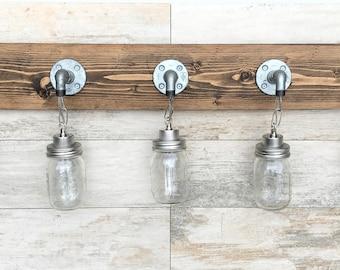 Vanity Light Fixture, Country-Style Mason Jar Light, Wall Light, Pendant Fixture, Bathroom Fixture, Rustic, Industrial, Handmade, Modern