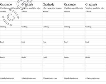 Gratitude Lists Bookmarks - Printable