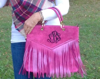 Monogram purse tote - designer inspired bag- monogram pocketbook - hot pink monogram fringe bag