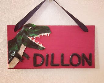 Personalised t-rex dinosaur door sign
