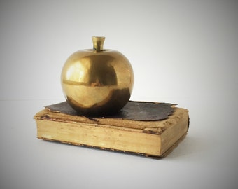 Vintage Brass Apple Paperweight Figurine, Large Brass Apple, Teacher's Gift, An Apple A Day
