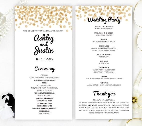 Glitter wedding programs printed on shimmer card stock Gold