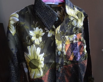 Father Son Matching - Toddler Boys Long Sleeved, Ethnic Indian Sari Silk Button Down Shirt - Dark Olive Floral - Leroy 2976