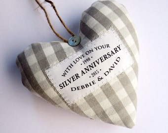 Silver Wedding 25th Anniversary Gift - Personalised Heart Made in Your Choice of Fabric. Supplied Gift Boxed.