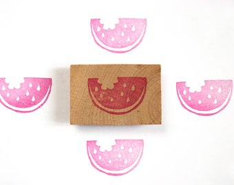 Watermelon hand carved rubber stamp