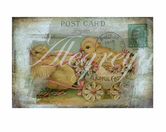 Four sweet grungy Easter postcards 6 x 4 inches ready for instant download