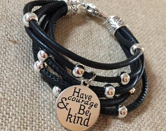 Have Courage multi strand leather bracelet
