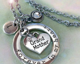 Grandmother Necklace, Forever in My Heart Personalized w-Letter Charm & Swarovski Birthstone Crystal, Grandma Gift, Grandmother Birthday
