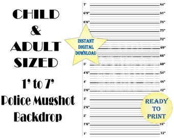 "Child Adult Mugshot Backdrop ~ Police Line Up Photo Booth ~ Printable 48X72"" Roaring 20s Prohibition Speakeasy Party Wedding Selfie Station"