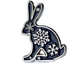 Snowflake Hare Enamel Pin Badge Brooch Bunny Hare Rabbit Blue Silver Snowflakes Christmas Limited Edition