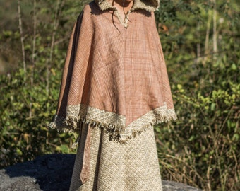 Women Warm Poncho Cloak with hood  and  woolen inside Made of Hand Woven natural Khadi cotton with tribal embroidery