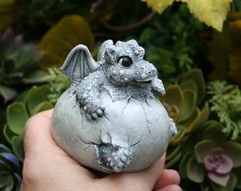 """Baby Dragon Statue - Concrete Dragon - """"Dickens"""" The Hatchling In An Egg Garden Figurine  Outdoor Garden Decor"""