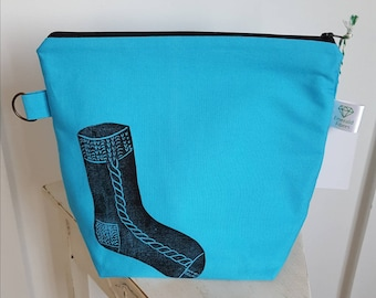Turquoise Sock Printed Project Bag