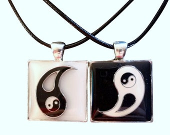 """Hand Poured Resin 3D Charm Best Friend, Friendship, BFF, Set of 2 Yin & Yang Necklaces, 18"""" Chains Gift Boxed"""
