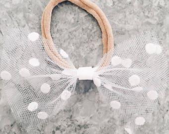 White Polka Dot Tulle Headband