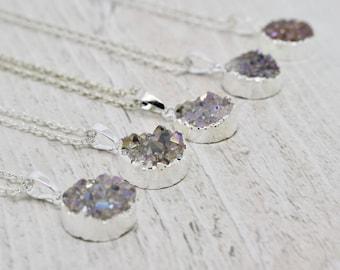 Silver Druzy Necklace, Silver Necklace, Druzy Crystal Necklace, White Druzy Necklace, Bridesmaid Jewellery, Wedding Jewelry, Bridesmaid Gift