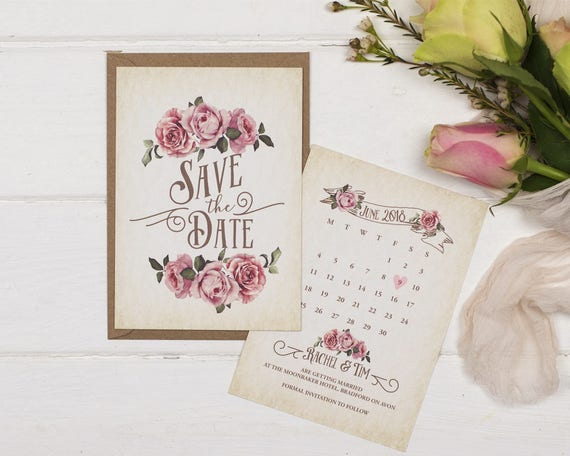 Rustic Save The Date Card - A6 Ivory Rustic Rose