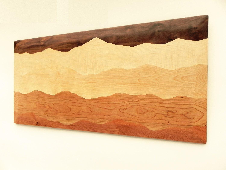 Mountain wall art /Black walnut, Tiger maple, Curly birch, Cherry ...