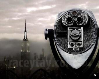 New York Print, Empire State Building, NYC Skyline, Fog, NYC Art, Gray, Silver, New York Skyline