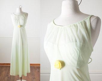Pale Green Nightgown, Sheer Nightgown, Vintage Lingerie, 60s Nightgown, Pin Up Negligee, 50s Nightgown, Mint Green Nightgown, Retro Nightie