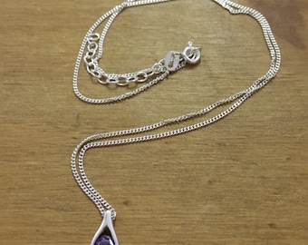 Hallmarked Sterling Silver Amethyst 925 Necklace