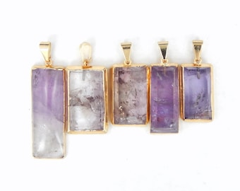 Natural Amethyst Bar 24k Gold Pendant with Electroplated Edge High Quality Amethyst from Brazil (S82B2-04)