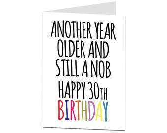 30th Birthday Card. 30 Card. 30th Birthday Card For Brother Best Friend. Funny 30th Birthday Card. Offensive 30th Birthday Card