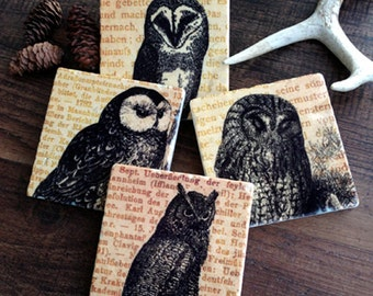Wise Old Owl - stone coasters (set of four)
