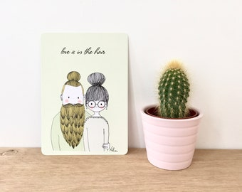 """Illustrated postcard """"Love is in the hair"""", decorative stationery"""