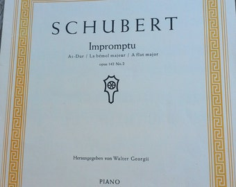 Schubert Impromptu Ops 142 No 2, As-Dur, Vintage sheet music, for piano - A flat major, classical piano sheet music for music lovers