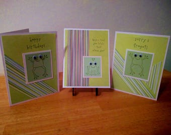 Hand Stamped Card Set Frogs