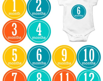 Baby Month Stickers, Baby Boy Gift, Milestone Stickers, Monthly Sticker, Monthly Baby Boy Stickers, Baby Month Milestone Stickers 166