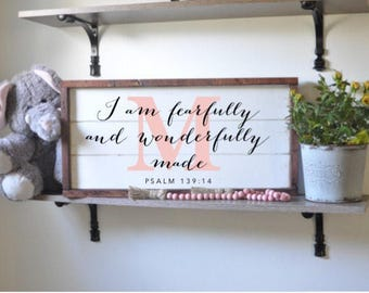 I am fearfully and wonderfully made, psalm 139:14, bible verse, framed shiplap, vintage wood sign