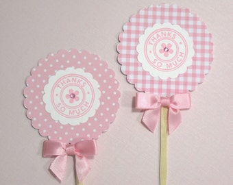 10 Pink White It's a Girl Thank You Cupcake Toppers -  Food Picks - Baby Shower Favors - Cupcake Picks